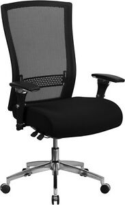 Black Mesh Executive Office Chair With Seat Slider And Adjustable Lumbar Support
