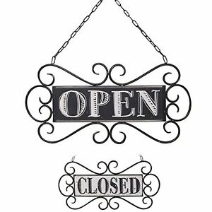 New Nikky Home Double Sided Metal Open And Closed Store Signs With Chain Hand