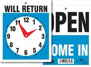 Headline Sign 9381 Double Sided Open will Return With Clock Hands 5 Inches By 6