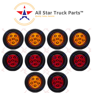 2 5 Round 6 Led Light Truck Trailer Side Marker Clearance Kit 5 Red