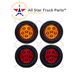 2 5 Round 6 Led Light Truck Trailer Side Marker Clearance Kit 2 Red 2 Amber