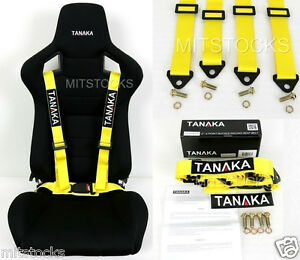 1 Tanaka Universal Yellow 4 Point Buckle Racing Seat Belt Harness 2
