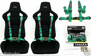 2 X Tanaka Universal Green 4 Point Buckle Racing Seat Belt Harness 2