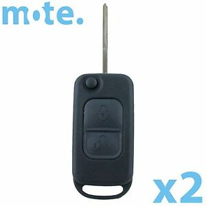 2 X To Suit Mercedes benz 2 Button Remote Flip Key Blank Replacement Shell case