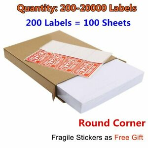 200 20000 Premium 8 5x5 5 Round Corner Shipping Labels Half Sheet Self Adhesive
