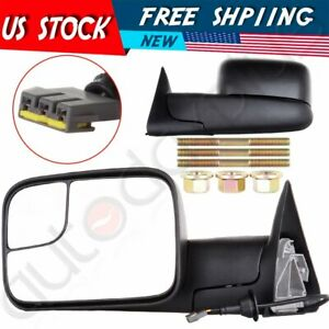 For 94 97 Dodge Ram Pickup Truck Power Side W Brackets Towing Mirrors Pair Set