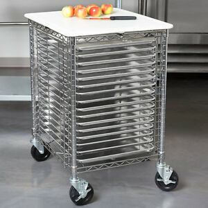 Metro End Load Portable Bakery Wire Prep Rack 16 Pan Capacity