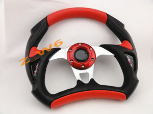 320mm Jdm 6 Bolt Black Red Racing Steering Wheel Drift Off Road Horn Button