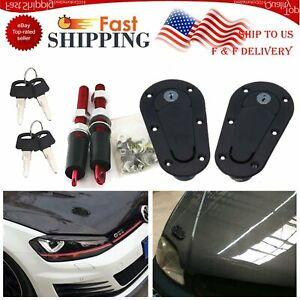 Racing Lock Plus Flush Hood Latch Pin Kit Carbon Fiber Style With 4 Key Locking