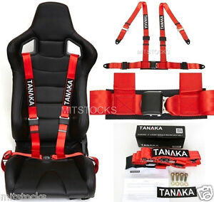 1 X Tanaka Universal Red 4 Point Ez Release Buckle Racing Seat Belt Harness New