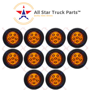 2 5 Inch Round 6 Led Amber Light Truck Trailer Side Marker Clearance Kit Qty10