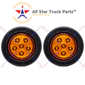 2 5 Inch Round 6 Led Amber Light Truck Trailer Side Marker Clearance Kit Qty2