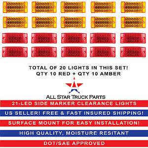 6 21 Led Sealed Side Marker Clearance Light Trailer Truck 10 Red