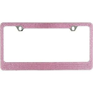 Bling Pink Crystal Rhinestone Metal License Plate Frame Free Bling Cap