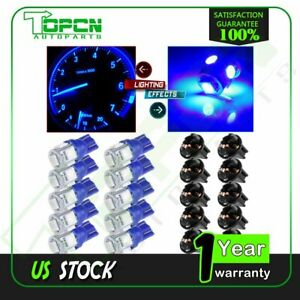 10x Blue T10 194 Twist Lock Socket Instrument Gauge Cluster Dash Led Light Bulbs