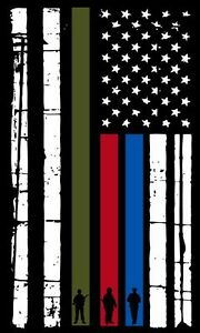 Thin Blue Line Vertical Flag Decal American Flag Firefighter Police Military