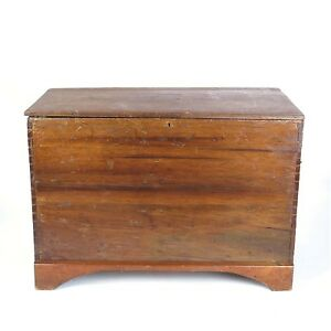 Antique Blanket Chest Trunk Large Dovetailed Flat Top Box Wooden 19th C As Is