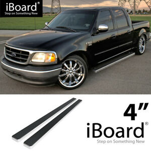 4 Silver Eboard Running Boards For 01 03 Ford F150 Super Crew Cab