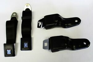 New Black Seat Belts Gm Logo 1967 1968 1969 Firebird Camaro Retractable Oe Style
