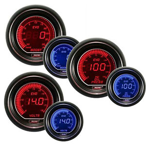 Prosport Evo Series 52mm Digital Boost Oil Pressure Volt Gauge Blue Red