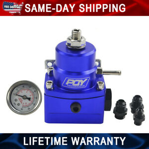 Universal Adjustable Fuel Pressure Regulator With Gauge Fpr Blue Aluminum