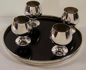 Gorham 5 Piece Set With Sterling Silver Rim Trivitray And 4 Cordial Cups 955