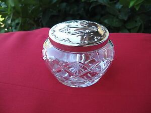 Gorham Antique Art Noveau Cut Crystal Sterling Lid Footed Powder Jar Vanity Box