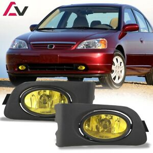 For 2001 2003 Honda Civic Fog Lights Wiring Switch And Bezels Yellow Lens