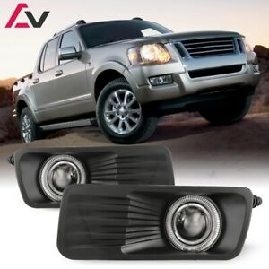 For Ford Explorer 06 10 Clear Lens Pair Bumper Fog Light Lamp Halo Projector