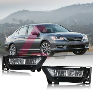 For 2013 2015 Honda Accord Fog Lights Wiring Switch And Bezels Clear Lens