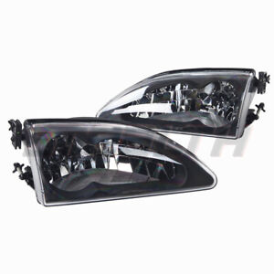Headlights For 1994 1998 Ford Mustang Cobra Black clear