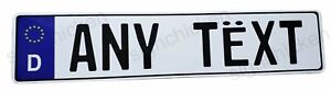 Euro Style Tag Bmw European License Plate Any Text Customizable German