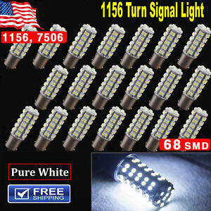 20x Pure White 1156 Rv Camper Trailer 68smd Led Cec1141 1003 Interior Light Bulb