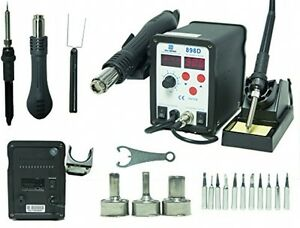 2 in 1 Smd Hot Air Rework Station And Soldering Iron W 11 Tips 3 Nozzles Led