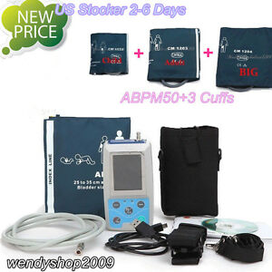 Us 24h Nibp Holter Ambulatory Blood Pressure Monitor Usb Software Abpm50 3 Cuffs