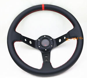 Off Road 350mm Deep Dish Drifting Stitching Steering Wheel Leather Wrapped