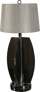 Mcm Smoke Gray Grey Lucite And Chrome Table Lamp