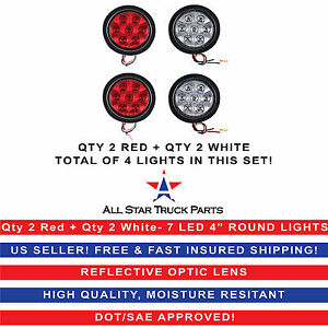 4 Inch 7 Led Round Stop backup reverse Truck Tail Light Kit 2 Red 2 White