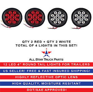 4 Inch 12 Led Round Stop backup reverse Truck Tail Light Kit 2 Red 2 White