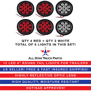 4 Inch 12 Led Round Stop backup reverse Truck Tail Light Kit 4 Red 2 White
