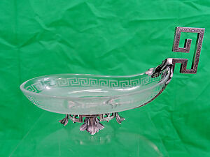 Magnificent Quality Antique French Sterling Silver Frosted Glass Candy Dish