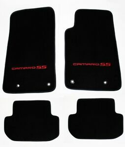 New Black Floor Mats 2010 2015 Camaro Embroidered Logo And Ss In Red 4 Pc Set