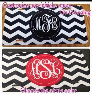 Monogram Initials Chevron License Plate New Car Metal Tag Personalized