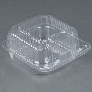 500 pack 5 X 5 X 2 1 2 Clear Hinged Lid Plastic Container