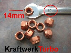 4x M10 1 50 Copper Turbo Nuts 14mm Hex Exhaust Downpipe From Michigan