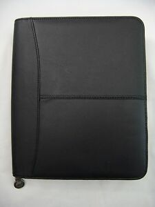 Hazel Black Leather Premium Zip Around Organizer Note Pad Holder 8 5 X 10 5 New