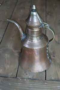 Antique Hand Hammered Copper And Brass Tea Kettle Pot