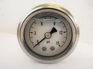 Fuel Pressure Gauge Liquid Filled 0 15 Psi Chrome Ring With White Face 5709