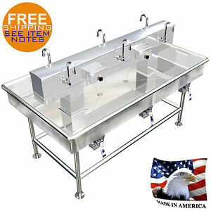Island 6 Users Wash Up Hand Sink Lavatory 72 X 40 Stainless Steel Made In Usa