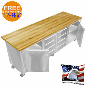 Stainless Steel Island Wood Maple Table Top 30 x96 8 Drawers Doors Under Shelf